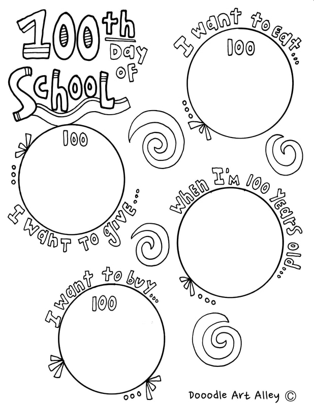 graphic relating to 100 Days Printable identified as 100th Working day of University Bash - Clroom Doodles