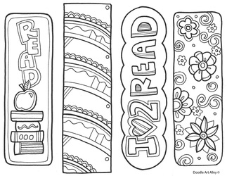 Bookmarks to Color Classroom Doodles