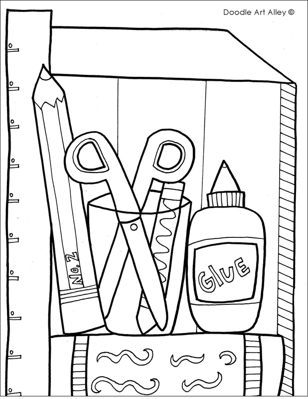 picture school supplies coloring page - School Coloring Pages Printable