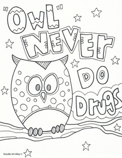 owl never do drugs coloring page