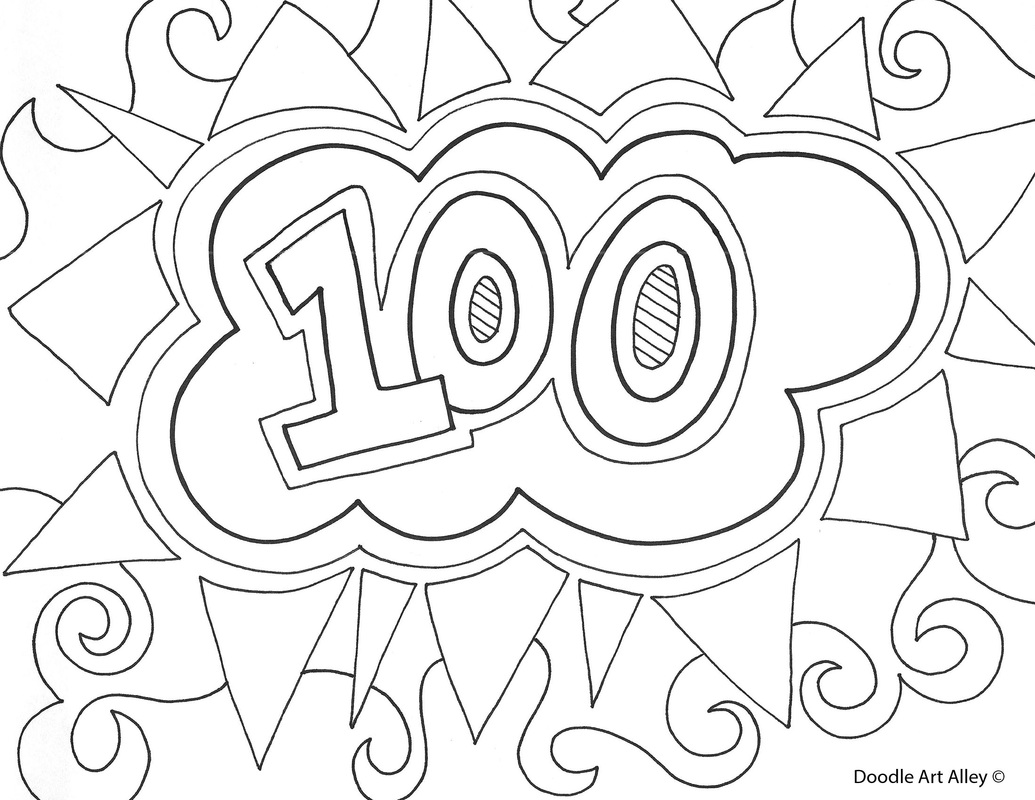 100th day of school celebration classroom doodles 100 Day Coloring Pages Printable 100 Day Coloring Pages