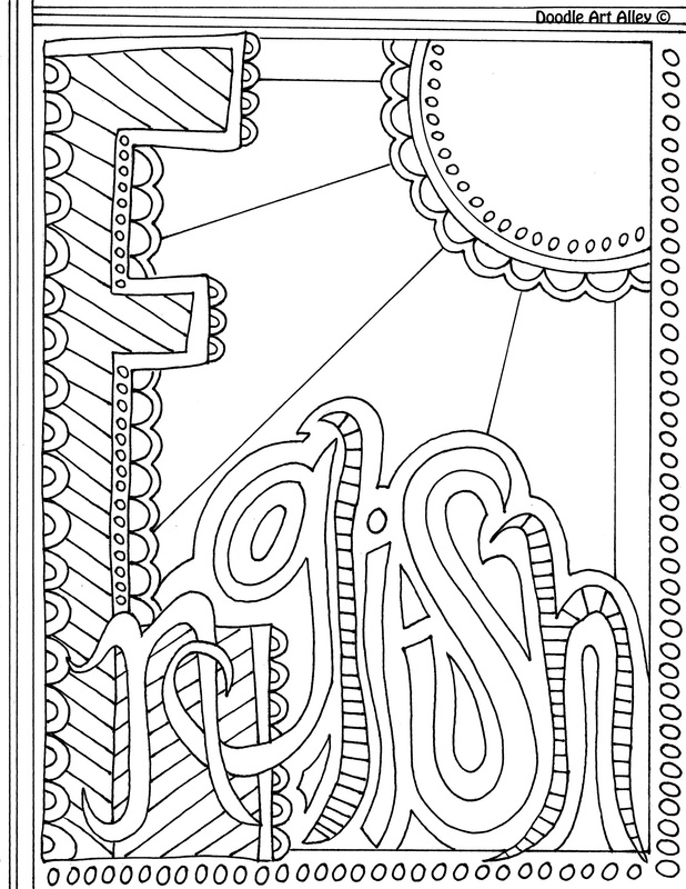 Cookbook Cover Coloring Page : English book cover coloring page sketch