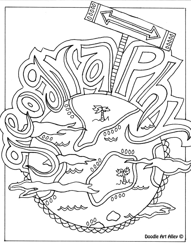 Picture Geography Coloring Page
