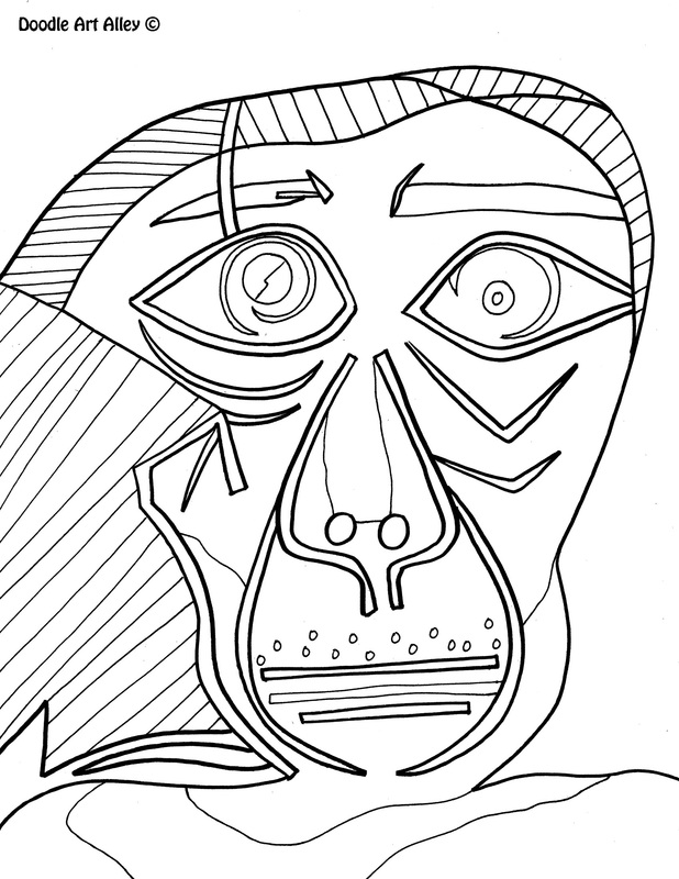 Pablo picasso free coloring pages for Artist coloring pages printable