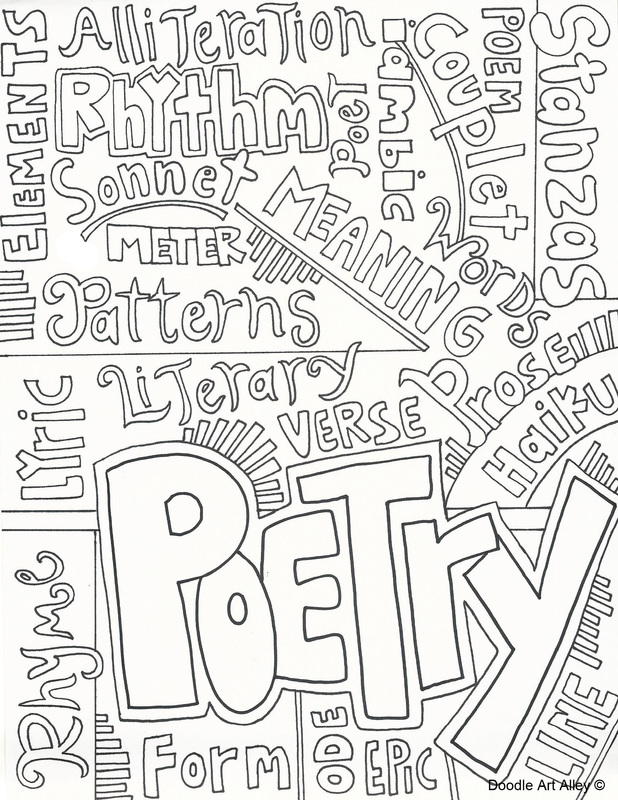 Subject cover pages coloring pages classroom doodles for Poetry booklet template
