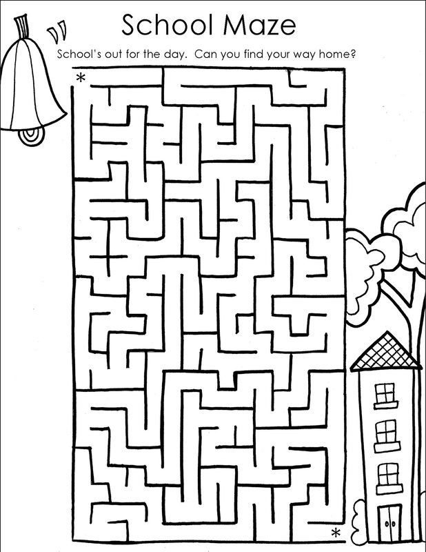 Back 2 school coloring page picture school maze printable