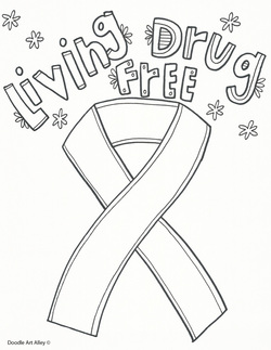 Picture Living Drug Free Coloring Page