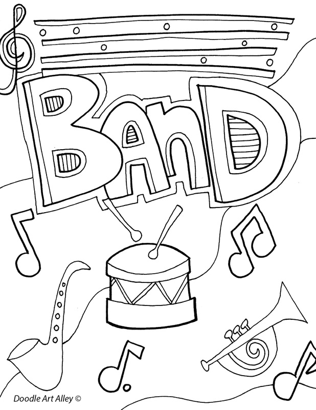 Subject cover pages coloring pages classroom doodles for Band coloring pages