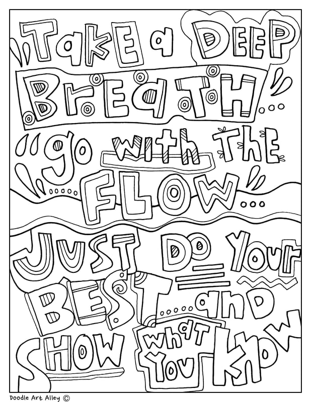 Deep breathing coloring pages ~ Testing Encouragement - Classroom Doodles