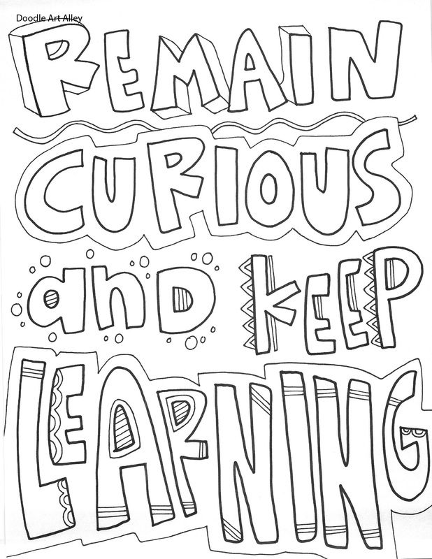 Educational Quotes Coloring Pages - Classroom Doodles