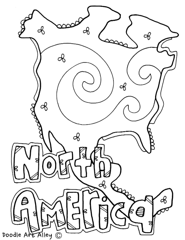 Continent Coloring Pages Classroom Doodles