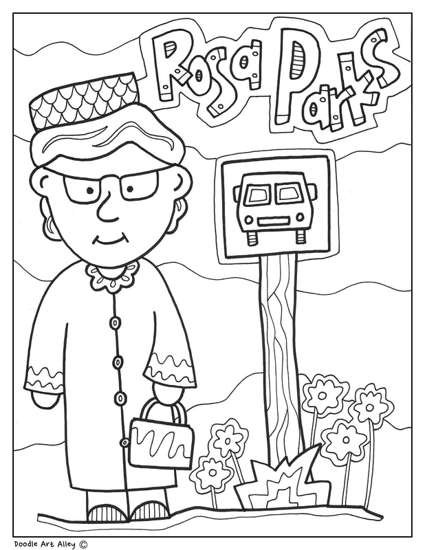 Rosa Parks Coloring Pages Classroom Doodles